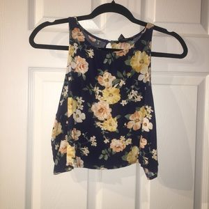 Navy Floral Open Back Crop Top